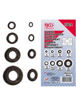 Grommet kit - rubber - 6 to 28 mm - 180 pcs.
