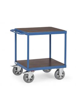Table trolley - with square loading area - with 2 floors of wood