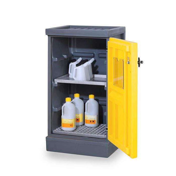 Umweltschrank PolyStore - Typ PS 611-1.1 - Kunststoff - Breite 610 mm - 1 Auffangwanne, 1 Gitterrost Edelstahl oder verzinkt