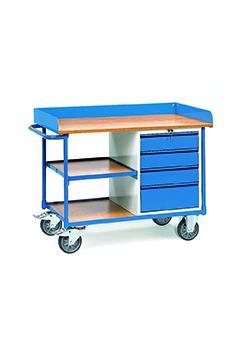chariots d'atelier - Surround - 4 tiroirs et 3 plates-formes de chargement