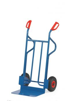 Tubular steel trolley - 300 kg - height 1200 mm - wide blade - Solid rubber / pneumatic tires