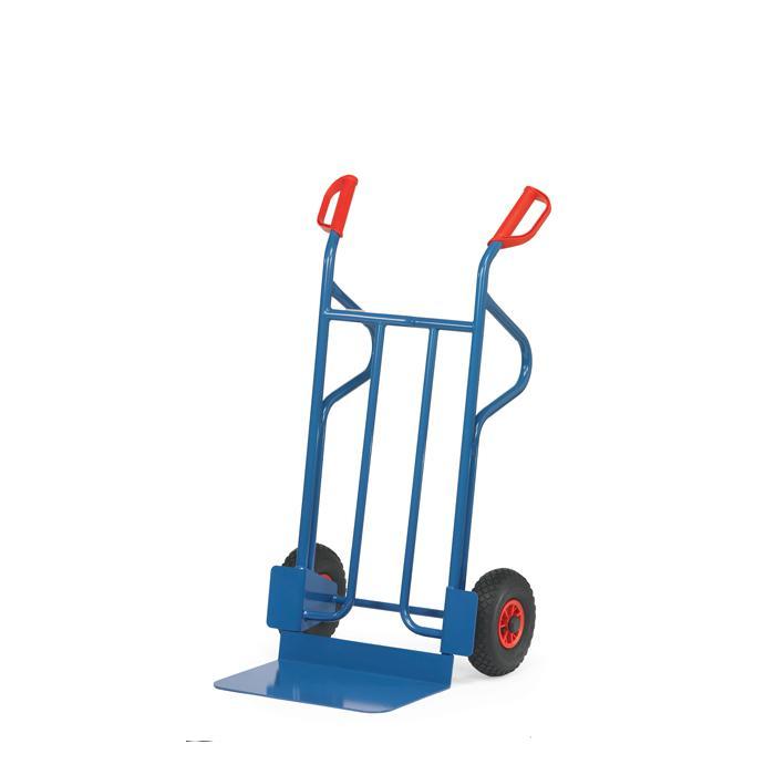 Stahlrohrkarre -  300 kg - Höhe 1200 mm - breite Schaufel - Vollgummi/Luftbereifung