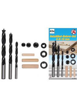Wooden dowel drill set - with drill depth limiter - 6 mm to 10 mm - 43 pcs.