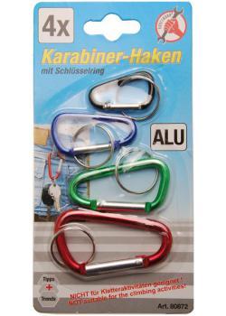 Karabinerhaken-Satz - mit Schlüsselring - ALU - 4-tlg.
