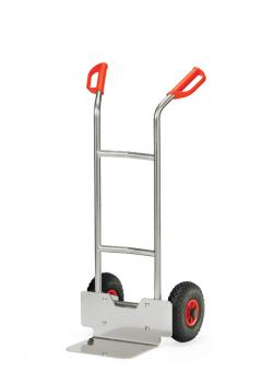 Alu hand truck - 150 kg - height 1150 mm - air / solid rubber tires