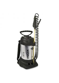 "High pressure sprayer ""INOX"" - 6 bar - spiral hose 2.5 m - filling capacity 5 l - total capacity 9 l"