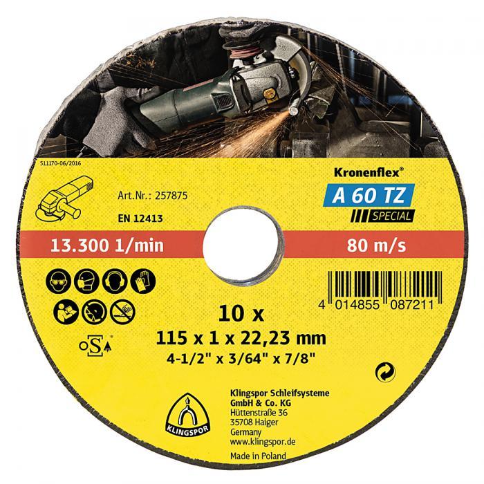 Trennscheiben A 60 TZ - Durchmesser 115 bis 125 mm - Bohrung 22,23 mm - geringe thermische Belastung