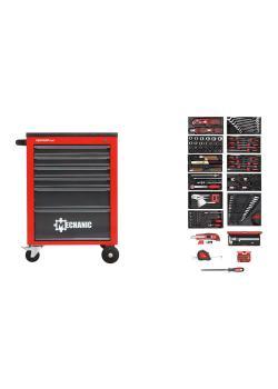 Zestaw narzędzi czerwony GEDORE w wózku warsztatowym MECHANIK - blacha stalowa - 166 sztuk