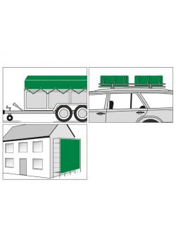 Fabric tarpaulin PolyGuard - width 2 to 8 m - length 3 to 14 m - 210 g / m²