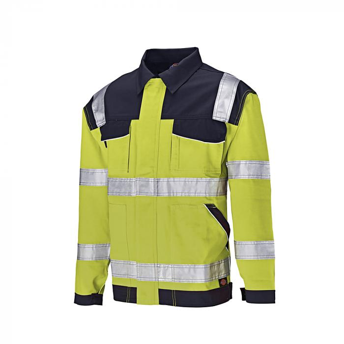 Giacca con collo di protezione di avvertimento Industria - Dickies - altamente visibile - taglia dalla S alla 4XL - giallo / blu navy