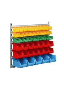 Stapelsichtboxen-Wandregal ProfiPlus Depot WN 49 - mit 49 Stapelsichtboxen - Außenmaße (B x T x H) 1.130 x 370 x 1.050 mm