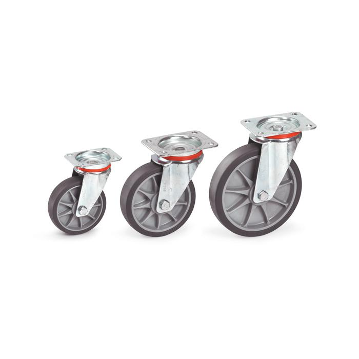 Lenkrolle - Thermoplastrad - Rad-Ø 125 bis 200 mm - Bauhöhe 165 bis 237 mm - Tragkraft 135 bis 250 kg