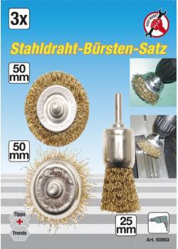 Drahtbürsten-Satz - für Bohrmaschinen - 6 mm Aufnahmeschaft - 3-tlg.