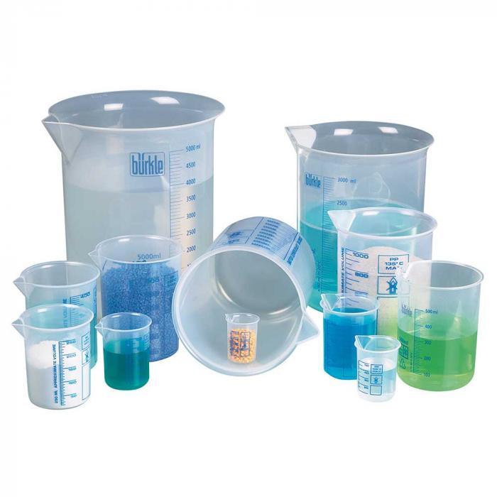 Laborbecher - Griffinbecher PP - blaue Skala - gemäß ISO 7056 - verschiedene Ausführungen
