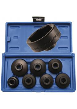 """Filtre à huile Cap Set - tailles 24 à 38 mm - 3/8 """"Drive - 7 pièces."""