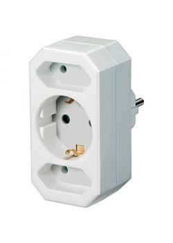 Adapterstecker Euro 2 + Schutzkontakt 1 - mit erhöhtem Berührungsschutz