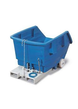 Carrello ribaltabile - polietilene (PE) - con rulli e tasche forche - volume 750 litri