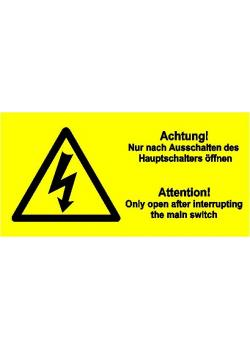 """Varningsskylt """"Varning"""" Öppna endast efter huvudströmbrytaren är avstängd"""