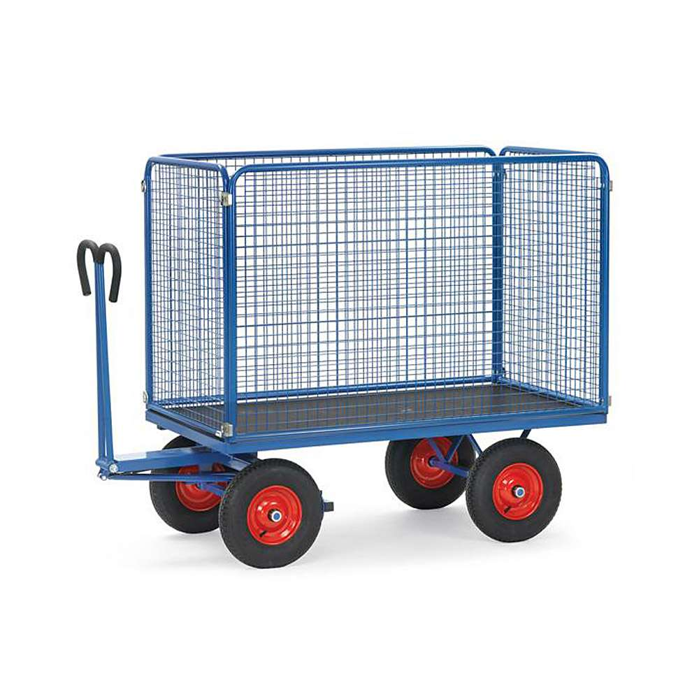 Hand truck - up to 1250 kg - with wire mesh walls - 1000 mm high
