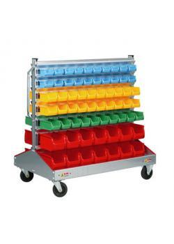Stapelsichtbox-Fahrregal ProfiPlus Depot RND 128 - mit 128 Stapelsichtboxen - Außenmaße (B x T x H) 1.200 x 720 x 1.160 mm