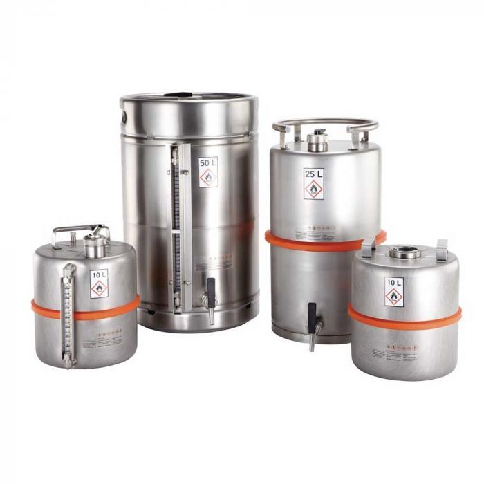 Sicherheitsbehälter aus Edelstahl - mit Zapfhahn und Überdruckventil - explosionsgeschützt - Inhalt 10 l oder 25 l