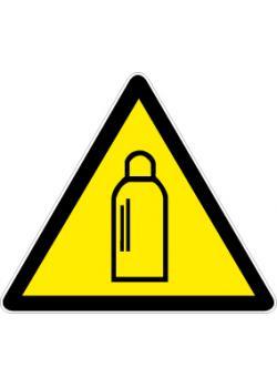 """Varningsskylt """"gasflaskor"""" - sidolängd 5-40 cm"""
