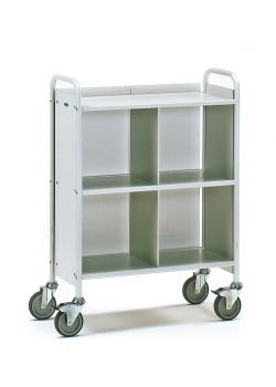 Office Cart - 150 kg - with 3 floors - 1 separation and 1 rear panel