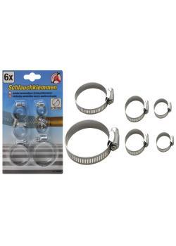 Hose clamp assortment - galvanized - 6 pieces - for hose Ø 4 to 45 mm - price per assortment