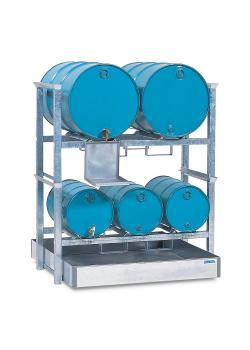 Fassregal AWS 3 - Auffangwanne aus Stahl - Auffangvolumen 400 l - Kannenträger verzinkt - für 3 Fässer á 60 und 2 Fässer á 200 Liter
