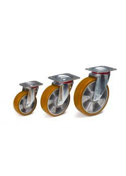 Länkhjul - med broms - polyuretan - till 400 kg - aluminiumfälgar