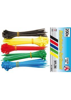 Kabelbinder-Sortiment - 2,4 mm x 100 mm - 5 Farben - 200-tlg.