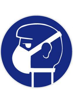 """Segnale di obbligo """"indossare leggera protezione delle vie respiratorie"""" - diametro di 50-40 centimetri"""