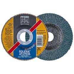 Fächerschleifscheibe - PFERD POLIFAN® - für Stahl/INOX - flache Ausführung - Maße (D x U x H) 115 x 15 x 22,23 mm - Korngröße 40