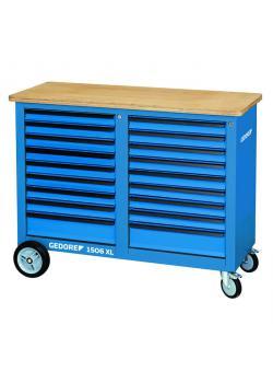 Mobil arbeidsbenk/verktøyvogn - ekstra bred - 18 skuffer - Total lastekapasitet 700 kg