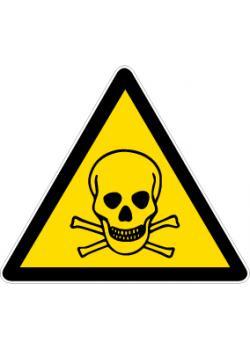 """Varningsskylt """"giftigt ämne"""" - sidolängd 5-40 cm"""