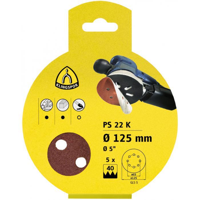 PS 22 K Scheiben kletthaftend - Größe 115 mm - Korn 40 bis 80 - Lochform GLS4 - SB-verpackt im Reiter