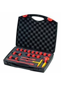 """Ratschenschlüssel Set - isoliert - 20-teilig - Ø Vierkant 3/8 """" - in Koffer"""