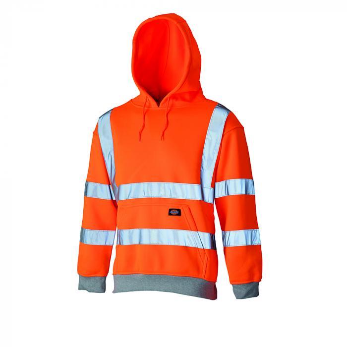 Hooded sweatshirt med varningsskydd - Dickies - mycket synlig - storlek S till 4XL - orange