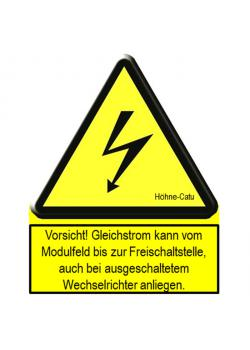 """Warnschild - für Photovoltaik-Anlagen - """"Vorsicht! Gleichstrom…"""" - verschiedene Ausführungen"""