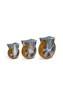 Hjul - polyuretandäck - aluminiumfälgar - till 400 kg