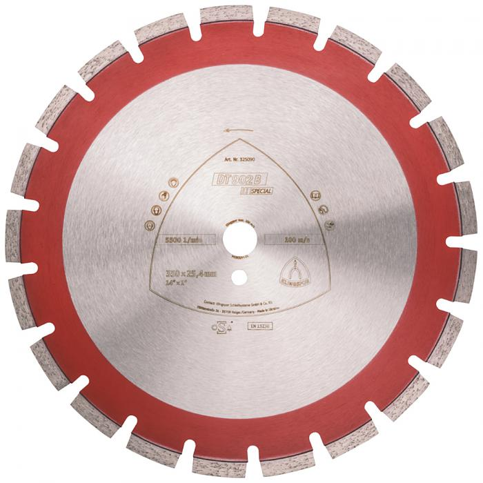 Diamanttrennscheibe DT 902 B - Durchmesser 300 bis 500 mm - Bohrung 25,4 mm - lasergeschweißt - weit verzahnt