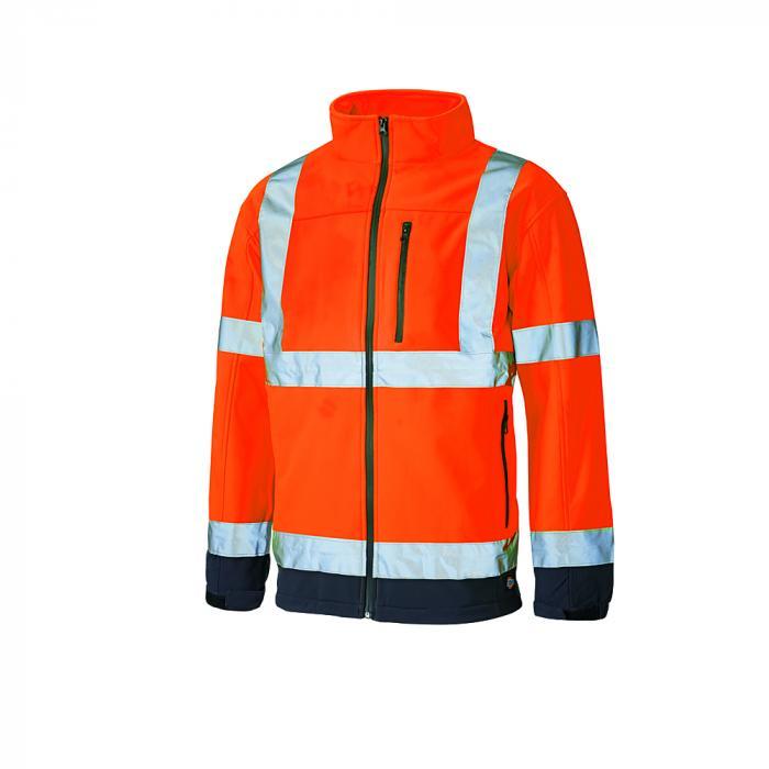 Giacca softshell di protezione da avvertimento - Dickies - altamente visibile - taglia dalla S alla 4XL - arancione / blu navy