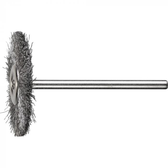 PFERD Rundbürste RBU mit Schaft - Stahldraht oder INOX - ungezopft - Außen-ø 32 mm - Besatzmaterial-ø 0,10 mm - Schaft-ø 3 mm -  VE 10 Stück - Preis per VE