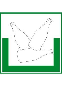 """Miljöskylt """"ofärgat glas"""" - sidolängd 5-40 cm"""