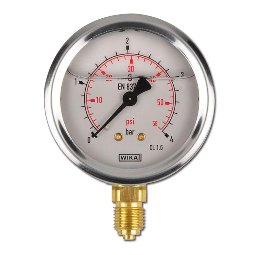 """Glyzerin-Manometer - Klasse 1,6 - Ø 63 mm - von -1 bar bis 1000 bar - G 1/4"""" B - senkrecht"""