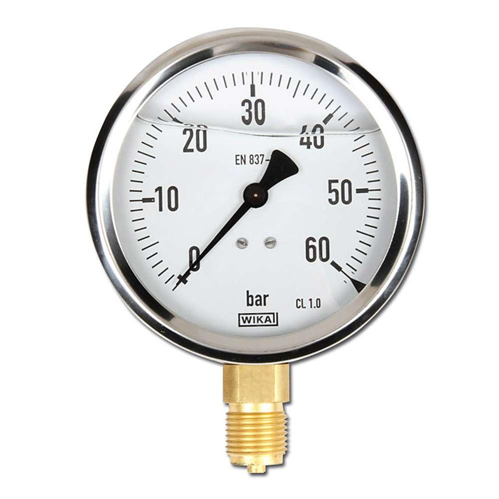 """Glycerin-Manometer - Klasse 1,0 - Ø 100 mm von -1 bar bis 1000 bar - G 1/2"""" B - stehend"""