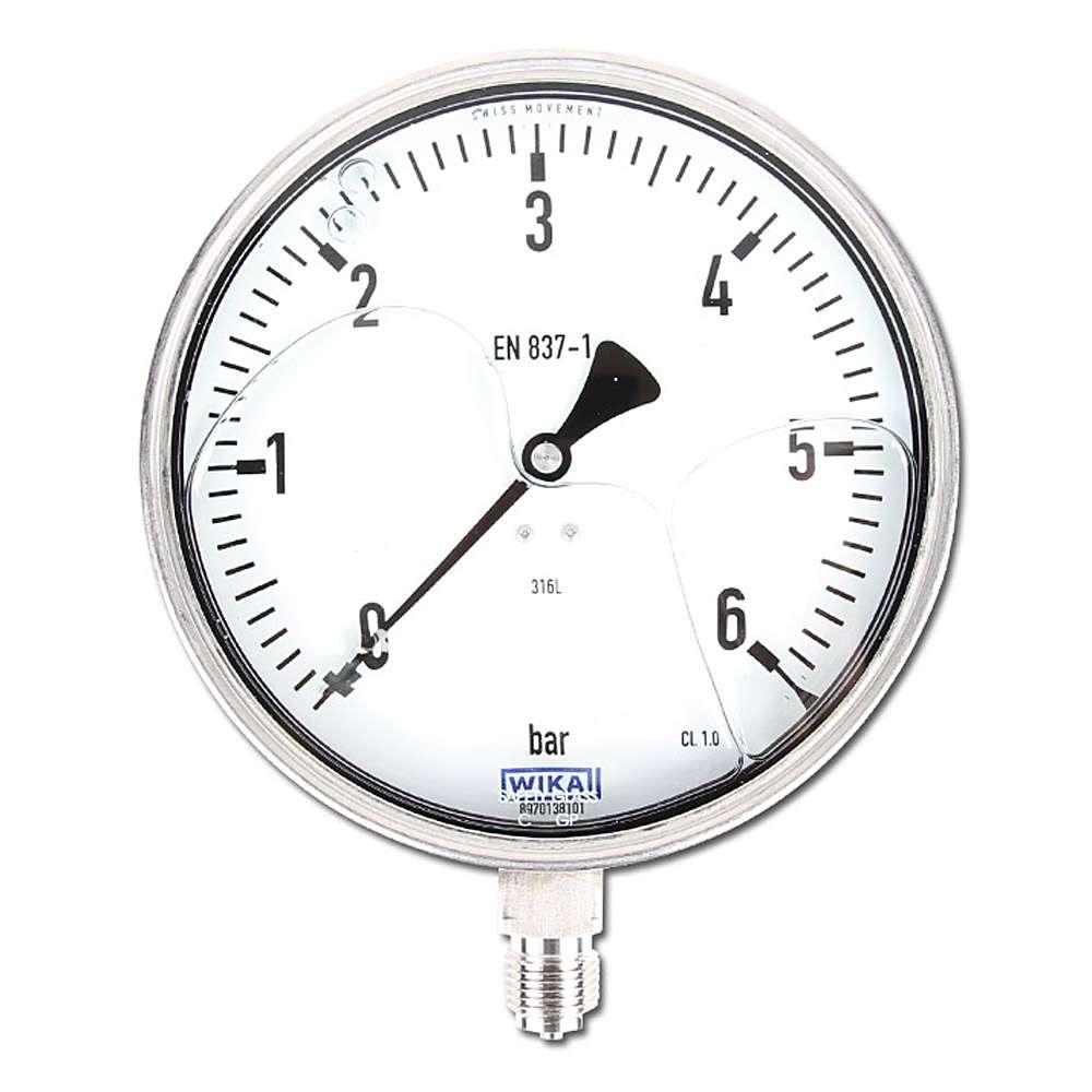 "Glycerin-Manometer - Klasse 1,0 - Ø 160 mm von -1 bar bis 1000 bar - senkrecht - G 1/2"" B"