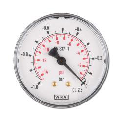 Manomètre Ø 40-63 mm - classe 2,5 - de -1 à 250 bar - horizontal - boîtier plastique