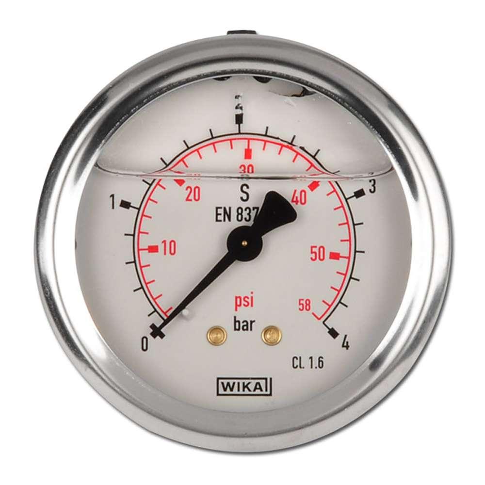 "Glycerin-Manometer-Klasse 1,6 - Ø 63 mm von -1 bar bis 1000 bar - waagerecht - Edelstahl - G 1/4"" B"